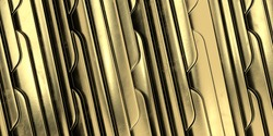 Geometric Art Deco Golden wave background. Gold background. Gold texture. 3d render.