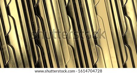 Photo of  Geometric Art Deco Golden wave background. Gold background. Gold texture. 3d render.