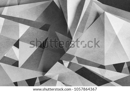 Geometric background with polygonal shapes, black and white