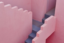 Geometric building detail. The red wall, La manzanera. Calpe, Spain