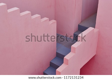 Geometric building detail. The red wall, La manzanera. Calpe, Spain #1172131234
