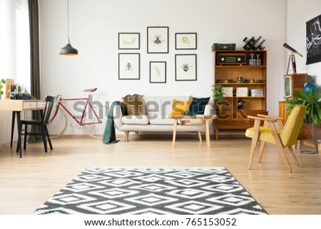 geometric carpet in spacious...