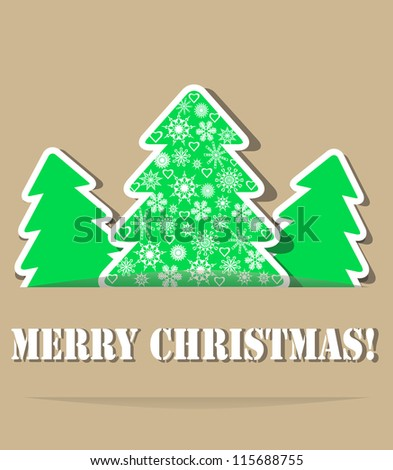Geometric christmas trees with shade. Main tree decorated snowflakes