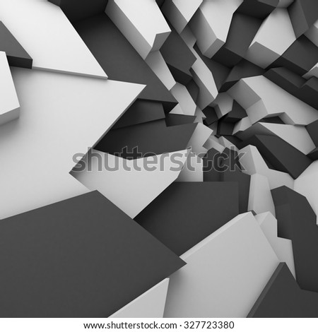Geometric color abstract polygons wallpaper, as crack wall. Interior room, chasm