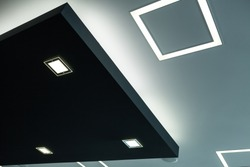 Geometric construction of celling maden with drywall and using modern economical LED light.