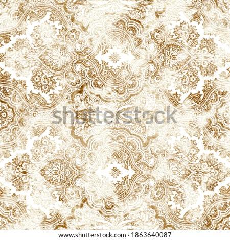 Geometric damask seamless pattern with grunge texture  Сток-фото ©