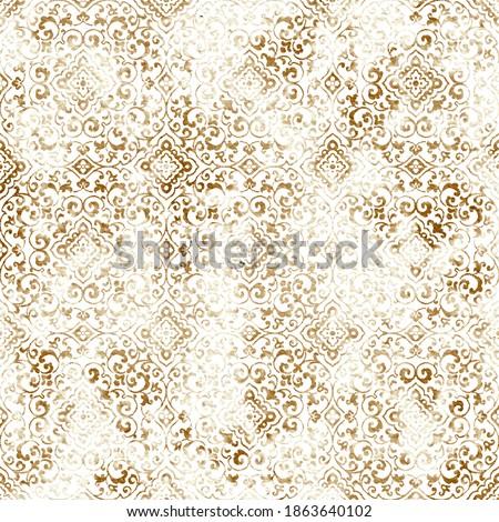 Geometric damask seamless pattern with grunge texture