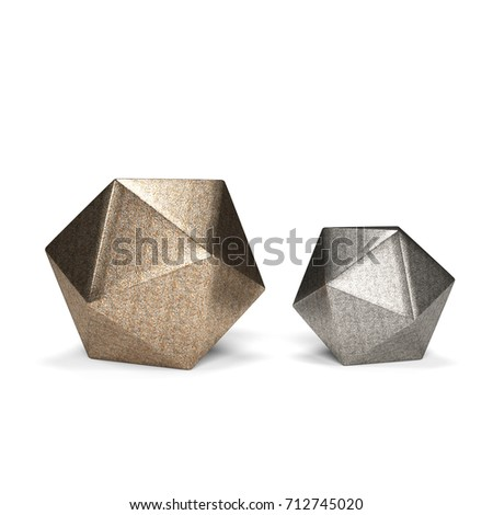 Geometric Decor Set - Icosphere isolated on a White Studio Background  3D Illustration stock photo