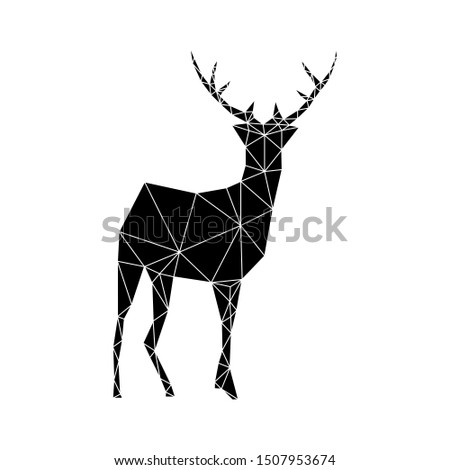 Geometric figure of a deer made of black triangles on a white background. Fashionable minimalism in the style of trigonometry.