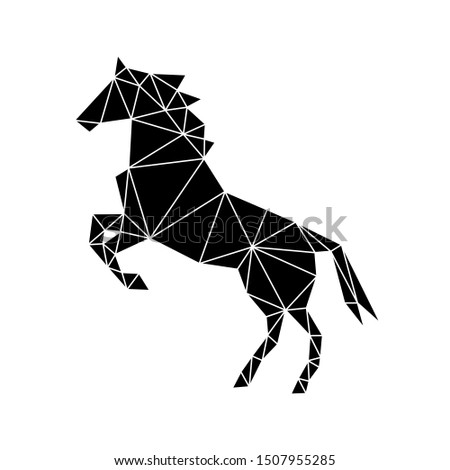 Geometric figure of a wild horse made of black triangles on a white background. Fashionable minimalism in the style of trigonometry.