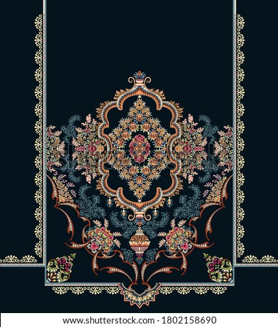 Geometric floral digital textile design motif and abstract illustration Artwork for textile print with background