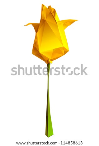 geometric flower with many brilliant triangles (style origami)