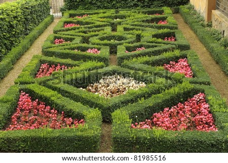 geometric  flowerbed  in Boboli Gardens in  Florence,Unesco World  Heritage site, Tuscany, Italy