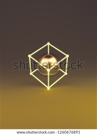 Geometric glow cube and gold ball on gradient yellow dark background. Creative design minimal concept, 3D rendering illustration.