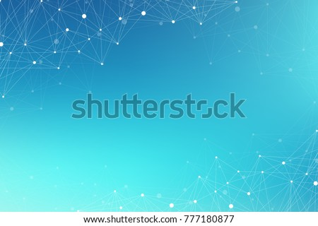 Geometric graphic background molecule and communication. Big data complex with compounds. Perspective backdrop. Minimal array Big data. Digital data visualization. Scientific illustration