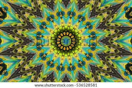 Geometric kaleidoscope print abstract image red, yellow, orange, blue, black shades. Pictures for vj and disco. A psychedelic print with many elements. In the form of flowers background images.