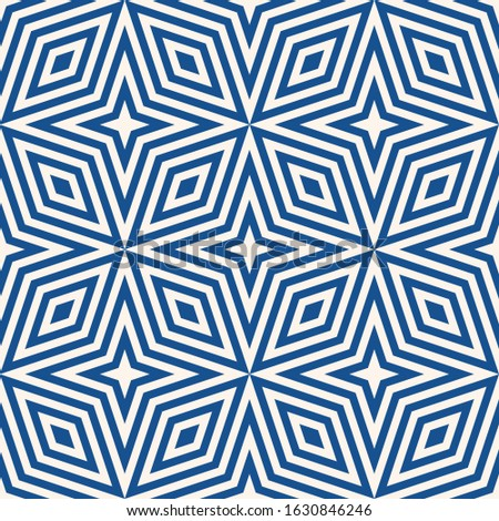 Geometric lines seamless pattern. Abstract raster texture with stars, rhombuses, diagonal lines, stripes. Simple blue and white graphic background. Modern linear ornament. Repeat tileable design