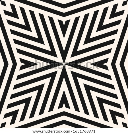 Geometric lines seamless pattern. Raster abstract modern black and white background. Simple graphic texture with stripes, diagonal lines, stars, triangles. Monochrome repeat design for tileable print