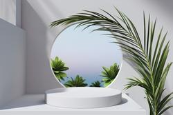 Geometric minimal scene, design for cosmetic or product display podium 3d render.