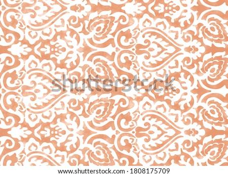 Geometric natural watercolor damask texture pattern   Сток-фото ©