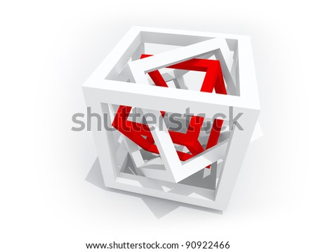 Geometric object: one red wire-frame cube inside of two white