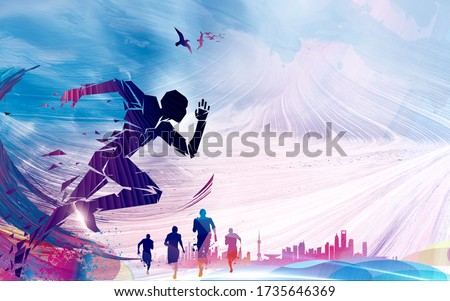 Geometric running man on the background of running people at marathon race. Running marathon, people run, colourful poster. Illustration. Concept. Speed. Active. Jump. Race. Exercise.