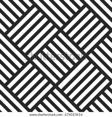 Geometric seamless pattern. Black and white striped background. Endless wicker texture.