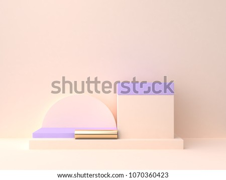 geometric shape blank podium 3d rendering cream violet-purple wall scene