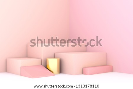 geometric shape 3d rendering stage for products or achivments in pastel pink color #1313178110
