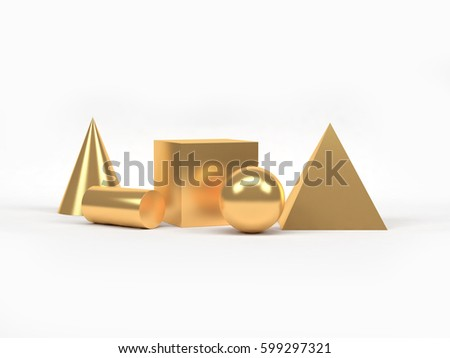 Geometric Shape Form Pyramid-Sphere-Cylinder-Cone-Cube gold set white background 3D Rendering #599297321