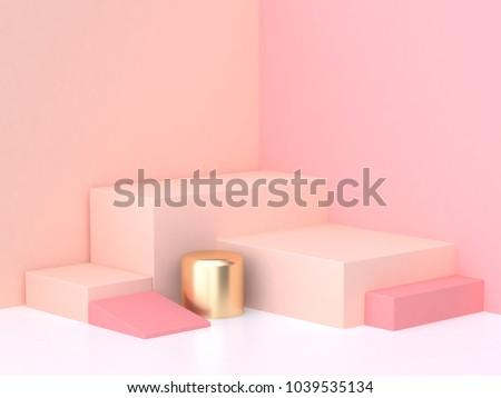geometric shape pink cream scene minimal 3d rendering stock photo