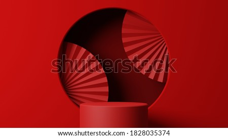 Geometric shape podium for product display on red background. 3d rendering.