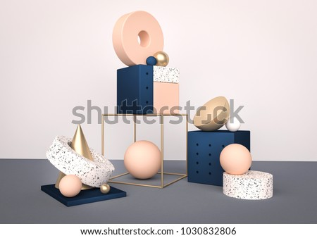Geometric shapes interior. Trendy 3d render illustration for social media banners and promotion. Pastel colors primitives on background. Abstract realistic composition in modern style.