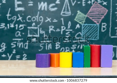 Geometric shapes made of woodr Round shape, square shape Beautiful color,The backdrop is Blackboard with mathematical content,Writing with a variety of colors,To stimulate teaching. #1006837279