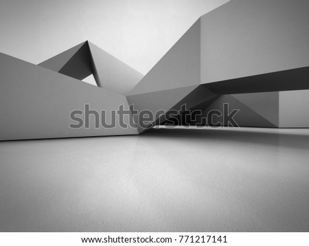 Geometric shapes structure on concrete floor with empty gray wall background in hall or modern showroom, Construction technology for future architecture - Abstract interior design 3d illustration