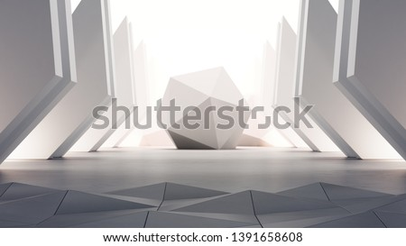 Geometric shapes structure on gray concrete floor with white wall background in hall or modern showroom. Construction technology for future architecture. Abstract interior design 3d illustration.