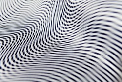 Geometric striped abstract optical illusion, pattern. Black and white vibrant parallel curves, web background.