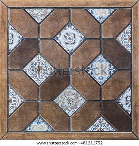 geometric tiles with mosaic