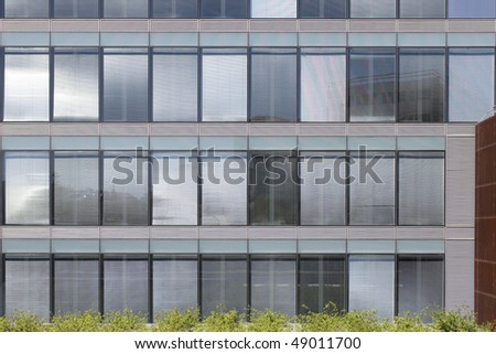 Geometric windows texture at a modern business building with a green garden