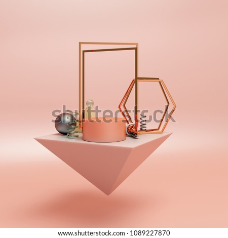 Geometry abstract composition of white marble pyramid, cylinder, sphere ball, gold rectangular hexagon frame, helix spiral glass on pink pastel background, for product display mock up. 3D rendering.