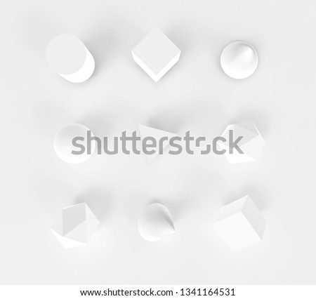 Geometry abstract objects set. Background 3d render. Concept simple white illustration for web, digital and print materials. Cone, cube, sphere and cylinder object on plane with realistic light