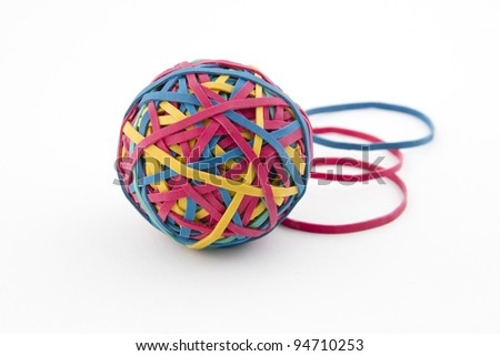 Geometry concept with a Rubber band ball