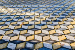Geometry cubes optical illusion floor in the park of Tbilisi. Geometry figure background.