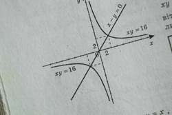 geometry drawing on page of old yellow book as background, algebra book as background