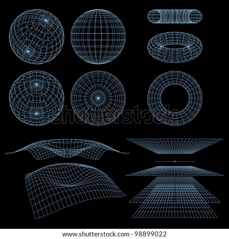Geometry, Mathematics and Perspective Wireframe Symbols. Rasterized Version