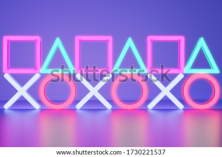 Geometry Neon lights in the room with Modern Blue Ambient lights background. 3D Render illustration. Foto d'archivio ©