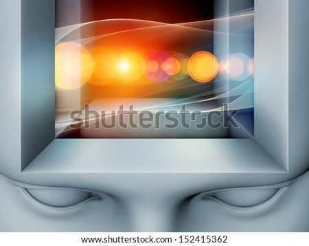 Geometry of Mind series. Background design of human head and fractal elements on the subject of human mind, consciousness, brain, reason, logic and creativity