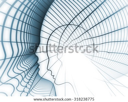 Geometry of Soul series. Abstract composition of profile lines of human head suitable as element in projects related to education, science, technology and graphic design