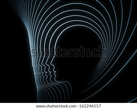 Geometry of Soul series. Abstract design made of profile lines of human head on the subject of education, science, technology and graphic design