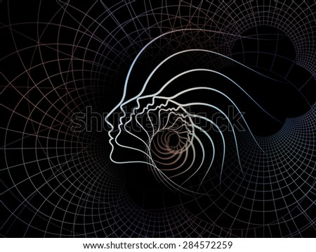 Geometry of Soul series. Abstract design made of profile lines of human head on the subject of education, science, technology and graphic design #284572259